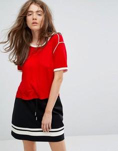 Футболка в стиле ретро с отделкой Weekday - Красный