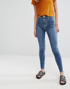 Супероблегающие джинсы с завышенной талией Weekday Body - Синий