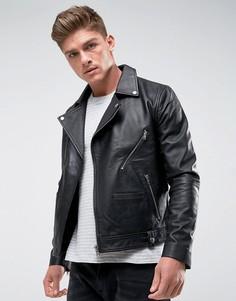Кожаная байкерская куртка с молнией Barneys Originals - Черный