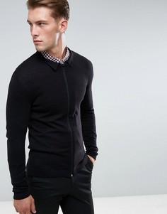 Черная трикотажная куртка Харрингтон обтягивающего кроя ASOS - Черный
