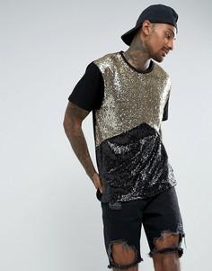 Черно-золотистая футболка с пайетками Jaded London - Черный