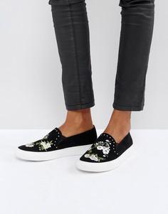 Кроссовки с вышивкой Miss Selfridge - Черный