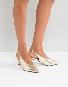 Туфли-лодочки с ремешком через пятку Miss Selfridge - Золотой