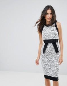 Платье-футляр с кружевной вставкой Vesper - Мульти