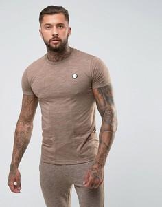 Облегающая футболка песочного цвета с контрастными вставками Intense - Светло-серый