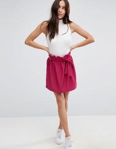 Фактурная расклешенная мини-юбка с верхним краем оборкой и поясом ASOS - Фиолетовый