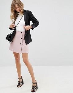 Двубортная мини-юбка ASOS - Розовый