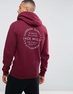 Худи на молнии с принтом на спине Jack Wills - Красный