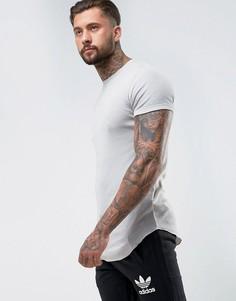 Длинная серая обтягивающая футболка в рубчик ASOS - Серый