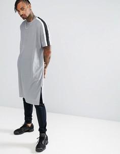 Длинная сетчатая оверсайз-футболка с кантом ASOS - Серый