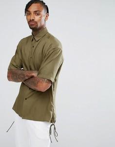 Оверсайз-рубашка цвета хаки со шнуровкой на рукавах ASOS - Черный