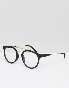 Круглые очки с прозрачными стеклами 7X - Черный