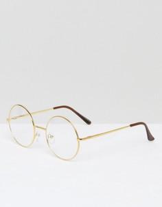 Круглые очки с прозрачными стеклами 7X - Золотой
