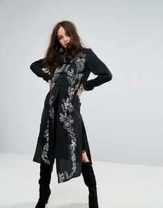 Куртка макси с высоким воротом и вышивкой Honey Punch - Черный
