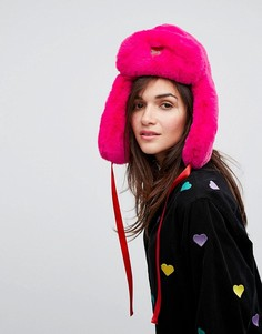 Розовая шапка-ушанка из искусственного меха Lazy Oaf - Розовый