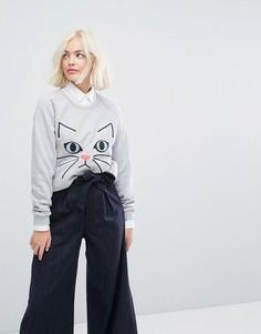 Свитшот с вышитым котом Paul & Joe Sister - Серый