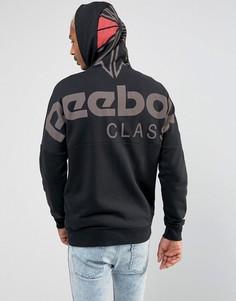Худи черного цвета с молнией Reebok BQ3367 - Черный