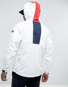 Белая куртка с фирменной полосой и капюшоном Tommy Hilfiger Denim - Белый
