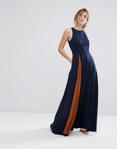 Плиссированное платье макси Ted Baker - Темно-синий