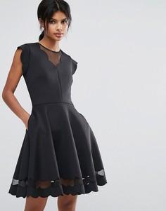 Платье с сетчатыми вставками и фактурной отделкой Ted Baker - Черный