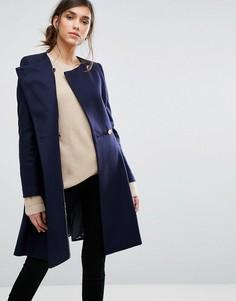 Шерстяное асимметричное пальто Ted Baker - Темно-синий