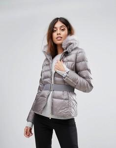 Стеганая куртка с искусственным мехом на воротнике Ted Bake - Серый