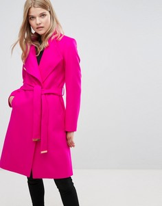 Длинное пальто с запахом Ted Baker - Розовый