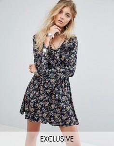 Чайное платье с винтажным цветочным принтом и оборками Kiss The Sky - Черный