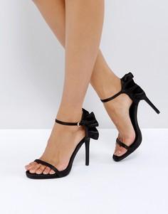 Атласные босоножки на каблуке с отделкой New Look - Черный