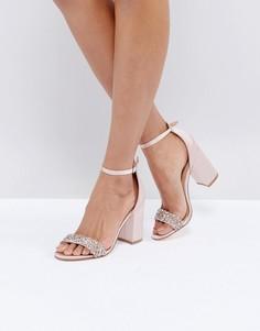 Атласные босоножки на блочном каблуке со стразами New Look - Розовый