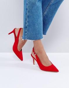 Красные туфли на низком каблуке с ремешком через пятку New Look - Красный