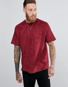 Бордовая оверсайз-футболка из искусственной замши ASOS - Красный