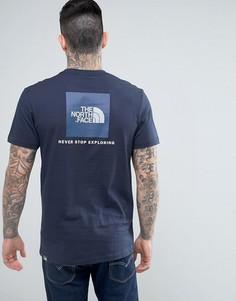 Темно-синяя футболка с логотипом в синем квадрате The North Face - Темно-синий