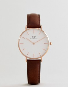 Часы с диаметром циферблата 32 мм и коричневым кожаным ремешком Daniel Wellington DW00100171 Petite Bristol - Коричневый