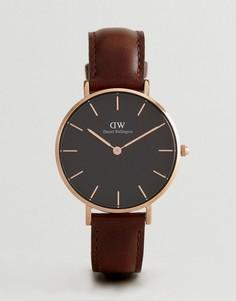 Часы с коричневым кожаным ремешком 32 мм Daniel Wellington DW00100165 - Коричневый