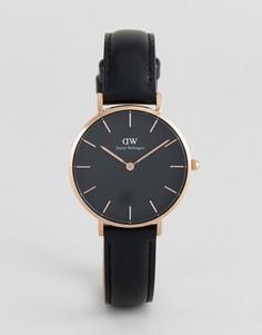 Часы 32 мм с черным кожаным ремешком Daniel Wellington DW00100168 Petite Sheffield - Черный