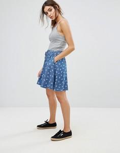 Короткая расклешенная юбка с принтом пейсли Tommy Hilfiger Denim - Синий