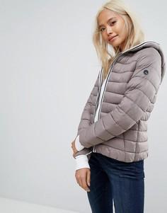Легкая дутая куртка с капюшоном Esprit - Коричневый