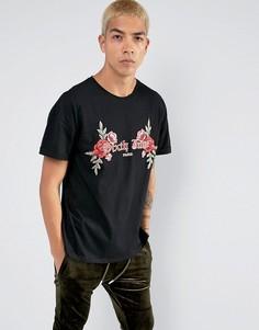 Черная футболка оверсайз с цветочной вышивкой Sixth June - Черный
