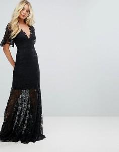 Кружевное платье макси с глубоким вырезом и юбкой-годе Bodyfrock - Черный