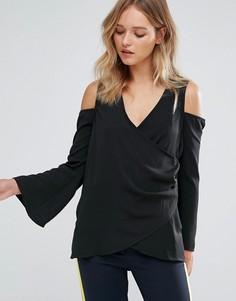 Блузка с запахом и открытыми плечами Neon Rose - Черный