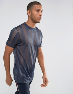 Темно-синяя длинная сетчатая футболка ASOS - Темно-синий