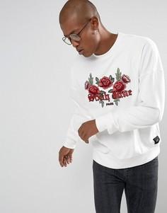 Белый свитшот-oversize с цветочным логотипом Sixth June - Белый