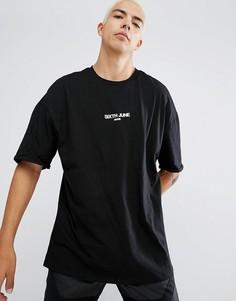 Черная оверсайз-футболка с маленьким логотипом Sixth June - Черный