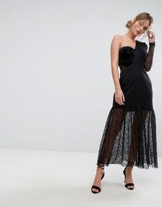 Кружевное платье миди на одно плечо с плиссировкой Three Floor - Черный