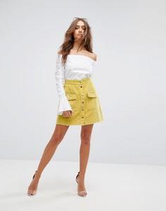 Вельветовая юбка на кнопках Boohoo - Желтый