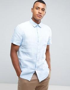 Рубашка с короткими рукавами из 100% льна Celio - Синий