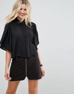 Укороченная блузка с рукавами клеш ASOS - Черный