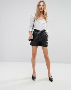 Кожаные шорты Y.A.S - Черный