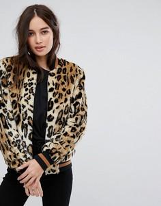 Куртка из искусственного меха с леопардовым принтом Vila - Коричневый